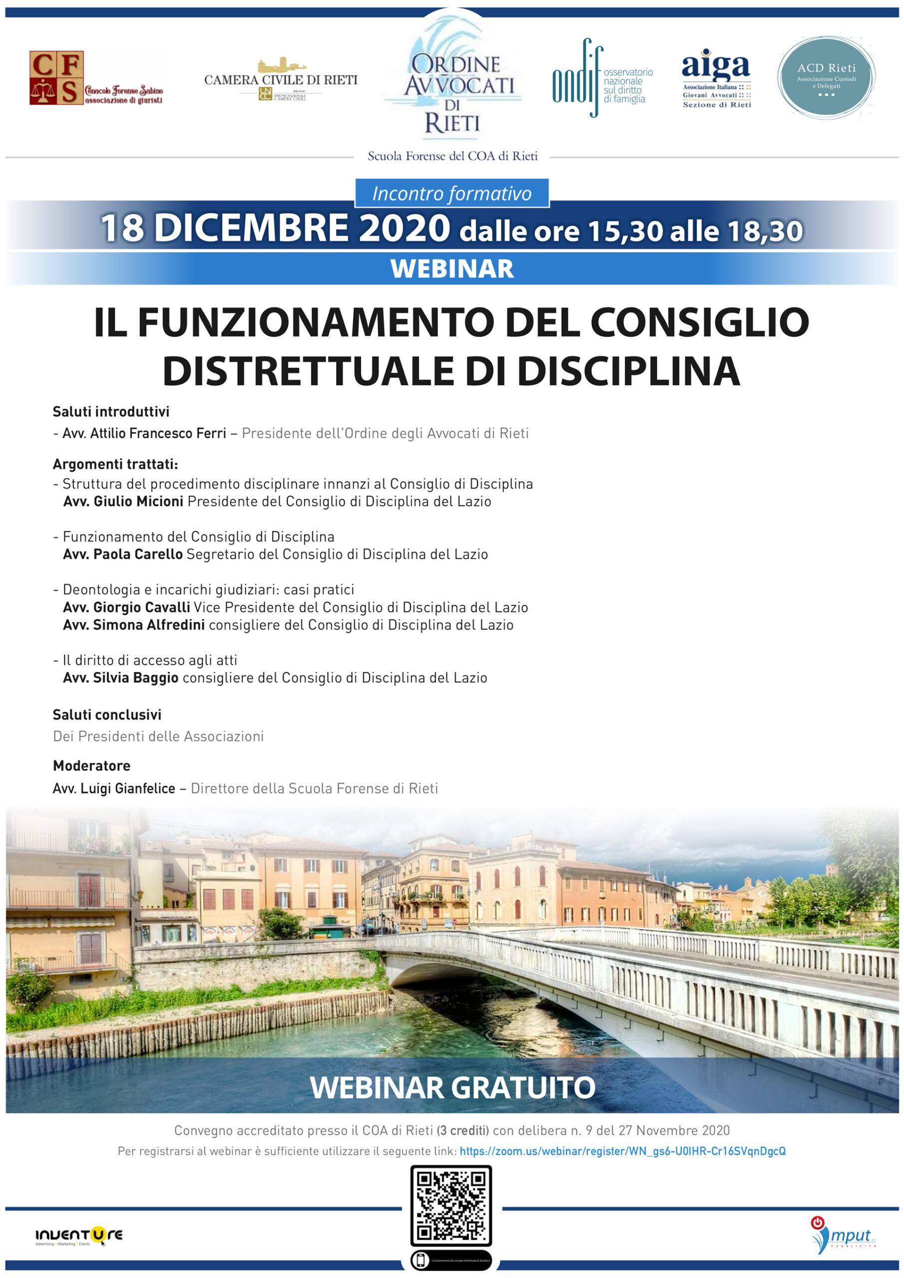 Iscrizione a webinar: Il funzionamento del consiglio distrettuale di disciplina